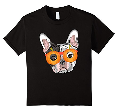 Kids French Bulldog With Halloween Pumpkin Mask Glasses T-Shirt 10 Black (Funny French Bulldog Halloween Costumes)