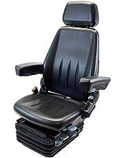 Pneumatisch geveerde bedrijfsvoertuigstoel HMNFZT6, sleepstoel, tractorstoel Harita Terra T6 met lange rugleuning - stoffen bekleding -