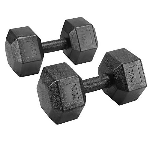 Yaheetech Lot de 2 Haltères Hexagone/Paire d'haltères Dumbbell Musculation Fitness pour Homme et Femme Entraînement…