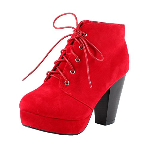 Forever CAMILLE-86 Women's Comfort Stacked Chunky Heel Lace Up Ankle Booties, Color:RED, Size:7.5 (Thick High Heels Platform Ankle Boots Shoes)