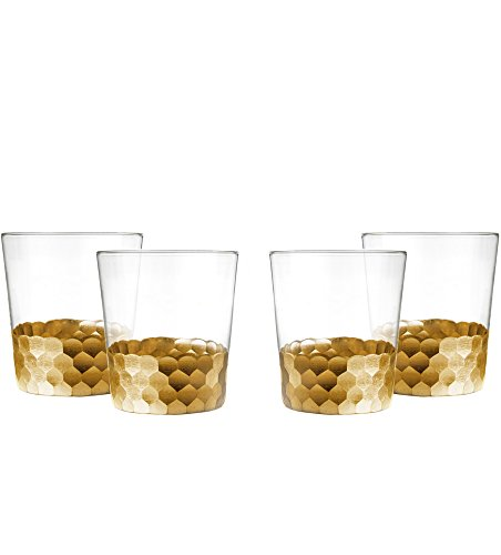 Floyd Old Fashioned - Fitz And Floyd Daphne Gold Old Fashioned Whiskey Glasses, Set of 4
