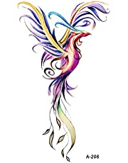 Colorful Watercolor Phoenix Dragon Temporary Tattoos for Kids Women Hand Tatoo Sticker Body Art 9.8X6cm A-114
