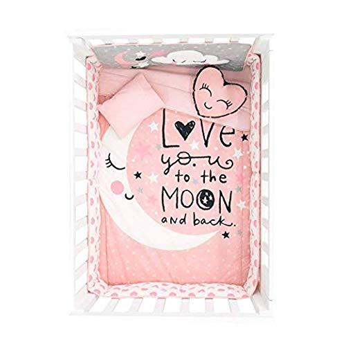 (Home Essentials To Your Door Baby Girl Crib Bedding Sets - 6 Piece Quilt Comforter Set in Pink - Nursery Decor)