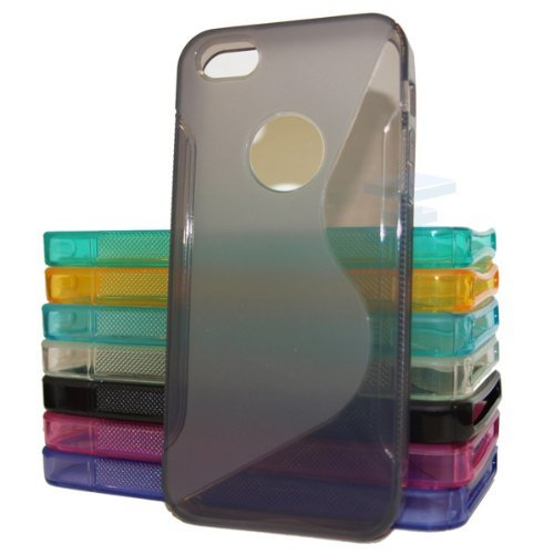Brilliant Style Apple Iphone 4 4G 4S Grey Silicone Gel S Line Grip Case Cover For Apple Iphone 4 4G 4S By G4GADGET®