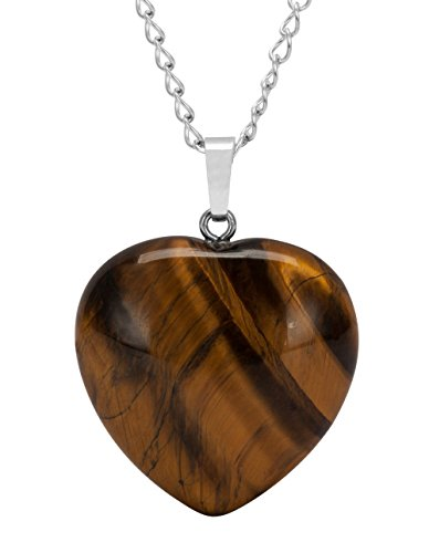 Sterling Silver Tiger Eye Gemstone Necklace 18 inch Heart Necklace Healing Crystals Chakra Stones Great Gifts NK18GP15