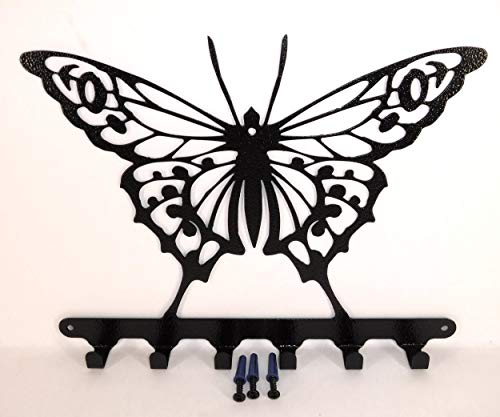 Textured Gloss - Butterfly Key Chain Holder- Gloss Black Textured Finish- Handmade in USA- Screws Included