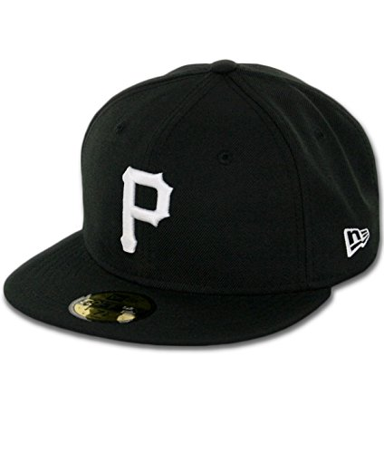 MLB Pittsburgh Pirates Black with White 59FIFTY Fitted Cap, 7 ()