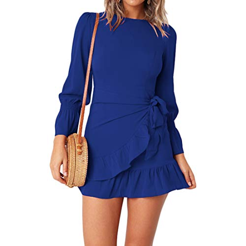 WEEPINLEE Womens Long Sleeve Round Neck Ruffles Wrap Dresses Party Dress (Royal Blue, S)