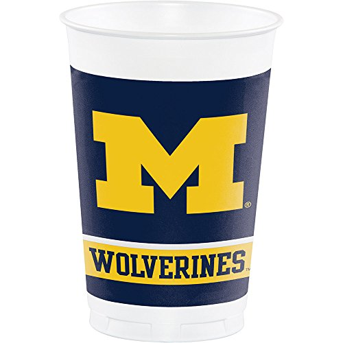 8-Count NCAA 20 oz. Premium Plastic Cups, Michigan Wolverines