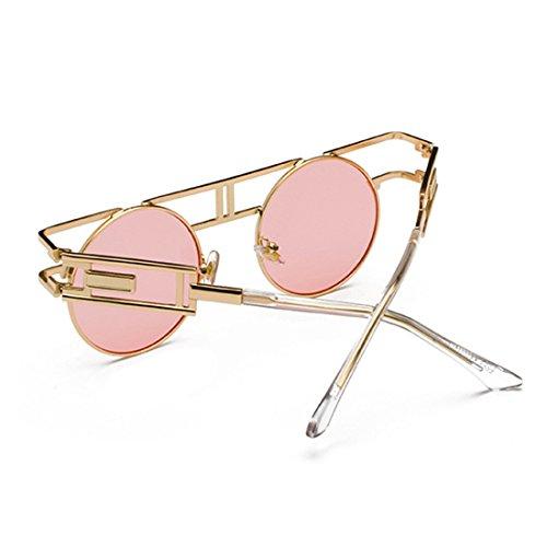 de Lente retro Polvo Circular Hombre mujer Marco reflectante Inlefen de sol metal Marino Anillo Gafas xwETOC