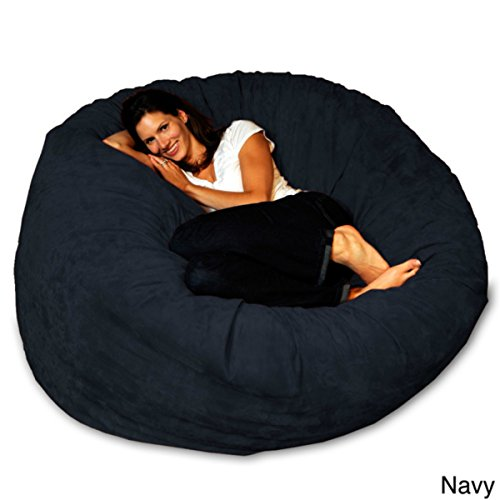 Bean Bag Chair 5-foot Memory Foam Big Large for Adults and Teens (Navy Micro Suede)