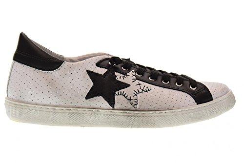 2 STAR Scarpe Uomo Sneakers Basse 2SU 1823 Bianco/Nero Bianco-nero