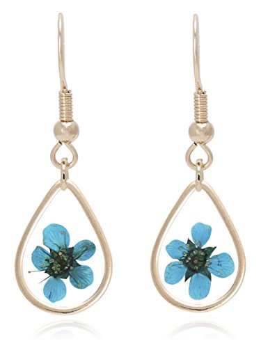 BONALUNA Pressed Flower Yellow Gold Plated Tear Drop Earrings (Glass Marble Pressed)
