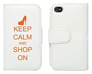 White Apple iPhone 4 4S LP639 Leather Wallet Case Cover Orange Keep Calm and Shop On High Heel