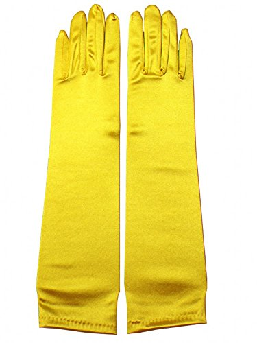 Miranda's Bridal Women's Wedding Formal Satin Gloves Costume Glove Yellow ()