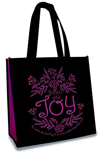 Filled With Joy 12 x 12 Inch Reusable Eco-Friendly Tote Bag Pack of 4 by Divinity Boutique