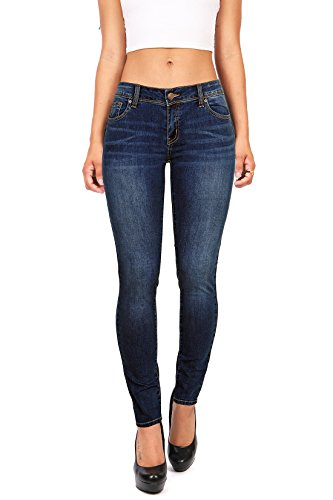 Wax Denim Women's Juniors Basic Stretchy Fit Skinny Jeans (3, Dark Denim)