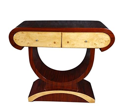 Rosewood Art Deco Desk - Sultaneantiques - Elegant Art Deco Console Olive and Rosewood Table