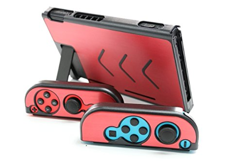 Aluminum Anti-Scratch Dustproof Hard Back Protective Case Cover Shells for Nintendo Switch NS Console with Joy-Con Controller (Red) ()