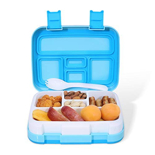 Kids Lunch Box - Leakproof 5-Compartment Bento Box for Kids and Toddler, Travel and On-the-go Meal and Snack Packing Food Storage Container, Lunch Box for boys and Girls (Blue)
