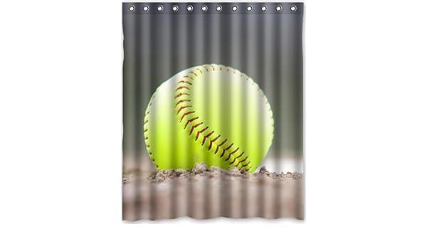 Popular Design Yellow Softball Shower Curtain 60w X 72hGeneric Liners