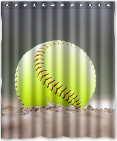 Popular Design Yellow Softball Shower Curtain 60quotw X 72quoth