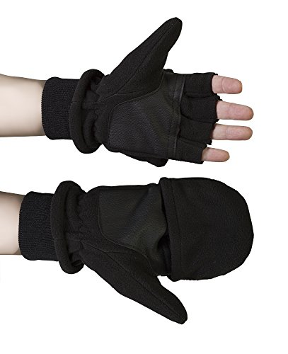 Convertible Flip Gloves Mittens (Debra Weitzner Convertible Fingerless Fleece Winter Gloves Fold Over Mitten)