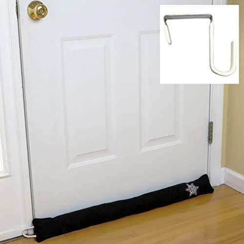 Evelots Door Draft Stopper-33 Inch-Free Over the Door Hook-Heat Stays In-Black