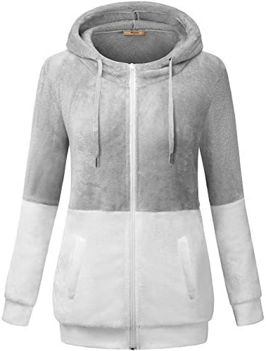 Miusey Women's Full Zip Long Sleeve Soft Fuzzy Fleece Hoodie Jacket with Pockets
