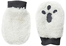 Pumpkin Patch Baby Boys\' Paw Print Style Fluffy Mittens, Vanilla, One Size