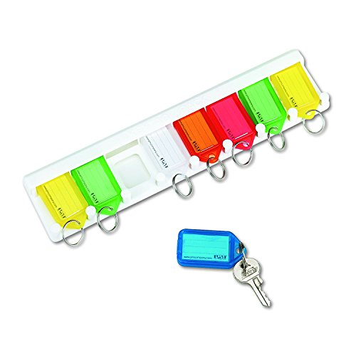 PM Company SecurIT Eight Key Wall Rack, 10.5 x 2.5 Inches, White/Multi-Colored Tags, 10/Carton (04991)