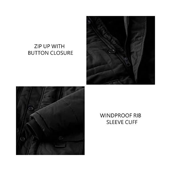 WenVen Homme Manteau d'hiver Décontracté en Molleton Veste d'Extérieur Classique en Coton Manteau à Capuche Fausse…