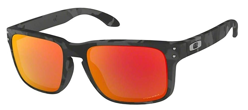 64befe1ed8 Amazon.com  Oakley Holbrook OO9102 9102E9 57M Black Camo Prizm Ruby  Sunglasses For Men For Women+ BUNDLE with Oakley Accessory Leash Kit   Clothing