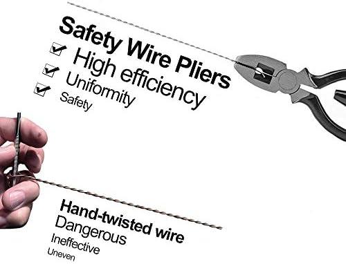 プライヤーツール安全ワイヤーツイストプライヤーヒューズプライヤー、9インチ航空業界グレードのヘビーデューティツイストプライヤーセットロックツイストドライバー、すばやく固定できる高炭素鋼鍛造