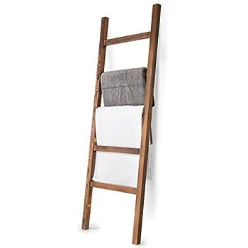 MyGift 4.5-Foot Brown Wood Decorative Blanket Storage Ladder