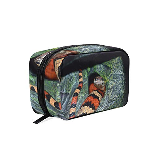 Makeup Bag Cosmetic Pouch Clutch Nature Texture Wildlife Snake Pattern Cave Jungle]()