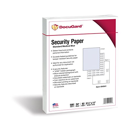 DocuGard Standard Medical Security Paper for Printing Prescriptions and Preventing Fraud, CMS Approved, 6 Security Features, Laser and Inkjet Safe, Blue, 8.5 x 11, 24 lb., 500 Sheets (Standard Laser Paper)