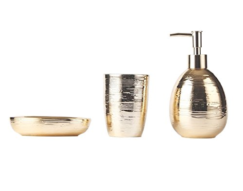 M&R Blvd. Golden Ceramic Bathroom Accessory Set. 3 Piece Bath Set Featuring Soap/Lotion Dispenser Pump, Toothbrush… - 3 PIECES SET – Our premium quality set includes everything that you made need to make your bathroom fully functional. Out set includes a Liquid Soap Dispenser (measures 2.3 x 6.6 inches), toothbrush holder (measures 3 x 4.1 inches) and Soap Dish (measures 4.6 inches). FASHION FORWARD AND ELEGANT – Elevate the look of any bathroom décor with this premium quality golden mosaic bathroom collection set. This modern design is eye-catching and attracts immediate attention. LIFE TIME DURABLE QUALITY CERAMIC – Made from the finest ceramic, by experienced professionals, which is guaranteed to outlast any other bathroom sets. - bathroom-accessory-sets, bathroom-accessories, bathroom - 41VSEsp1ZLL -