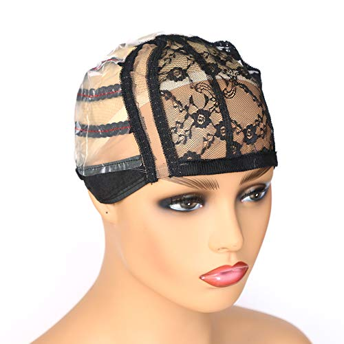 Colorfulwigs Side U Part Wig Cap with Lace for Wigs Making with Adjustable Strap Medium Size Black Weaving Wig Cap for Women Girls DIY Wigs (1pc-Black) (Best Weaving Cap For U Part Wig)