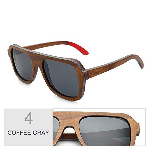 Gray Gafas Unisex Color Madera Café De Antirreflejante Polaroid Coffee Multicapa Sol Bastidor Tianliang04 Hombre Gris 6xdFgwqF