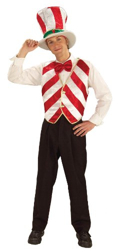 Forum Novelties Men's Mr. Peppermint Holiday Costume, White/Red, (Funny Pair Costume Ideas)