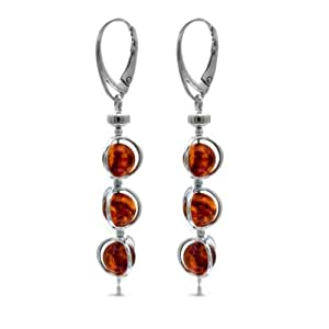 Honey Amber Sterling Silver Cage Leverback Earrings