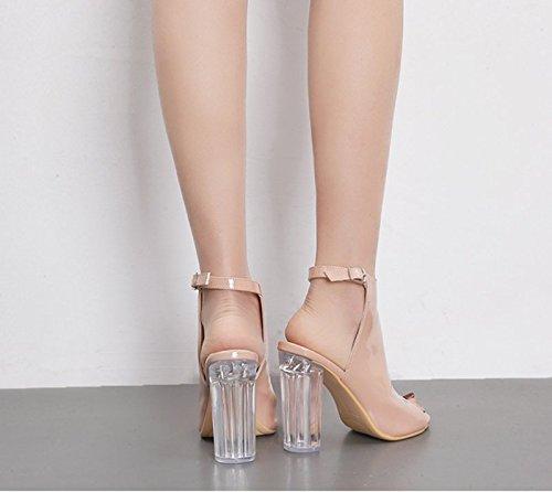Doux Mode Un 8 Unique Fer Chaussures Crystal KHSKX Cheval Chaussures Toe Avec Thirty En À Vache Hauts D'Occasionnels Beige 5Cm nine Boucle Cuir Talons Sandales qAqvt