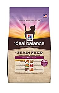 Hill's Ideal Balance Grain Free Natural Chicken and Potato Recipe Adult Cat Dry Food Bag, 11-Pound