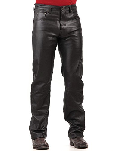 Tanners Avenue Men's Black Lambskin Leather Jean Pants