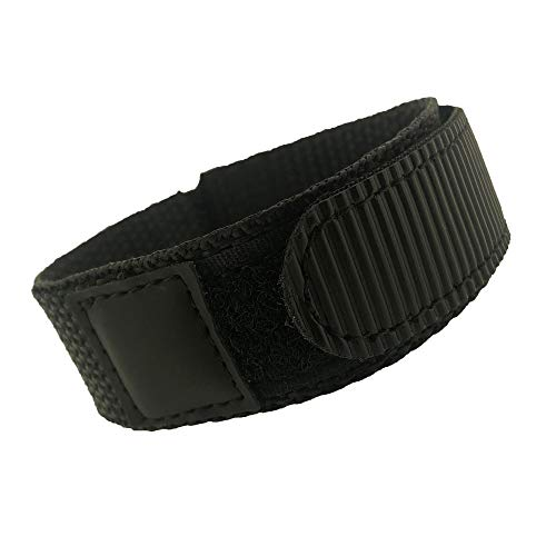 Watch Band Nylon One Piece Wrap Sport Strap Black Adjustable Hook and Loop 20mm