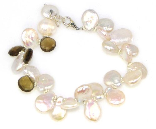 Coin Pearl Bracelet, Light Pink Chalcedony (looks similar to Rose qtz)