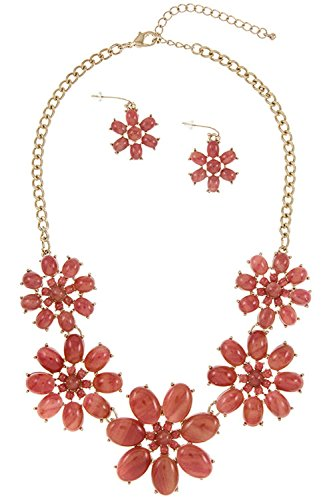 GlitZ Finery Acrylic Framed Flower Detailed Link Bib Necklace Set (Coral)