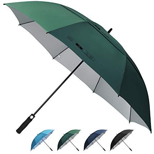 Prospo Golf Umbrella UV Protection 62 inch Auto Open Large Windproof Stick Vented Sun Rain Umbrellas Dark Green