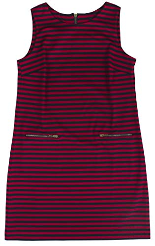 Tommy Hilfiger Women's Sleeveless Striped Ponte Shift Dress (8, Red/Navy)